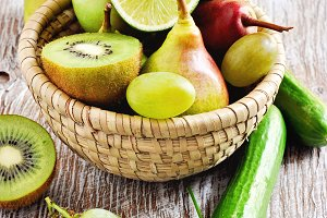 Fresh green fruits and vegetables