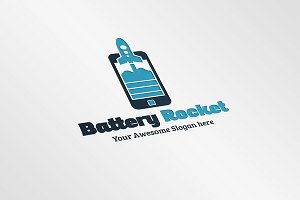 Battery Rocket Logo Template