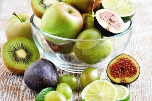 Fresh fruits in glass bowl