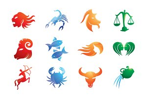 Trible Zodiac Signs Vector Icon Set