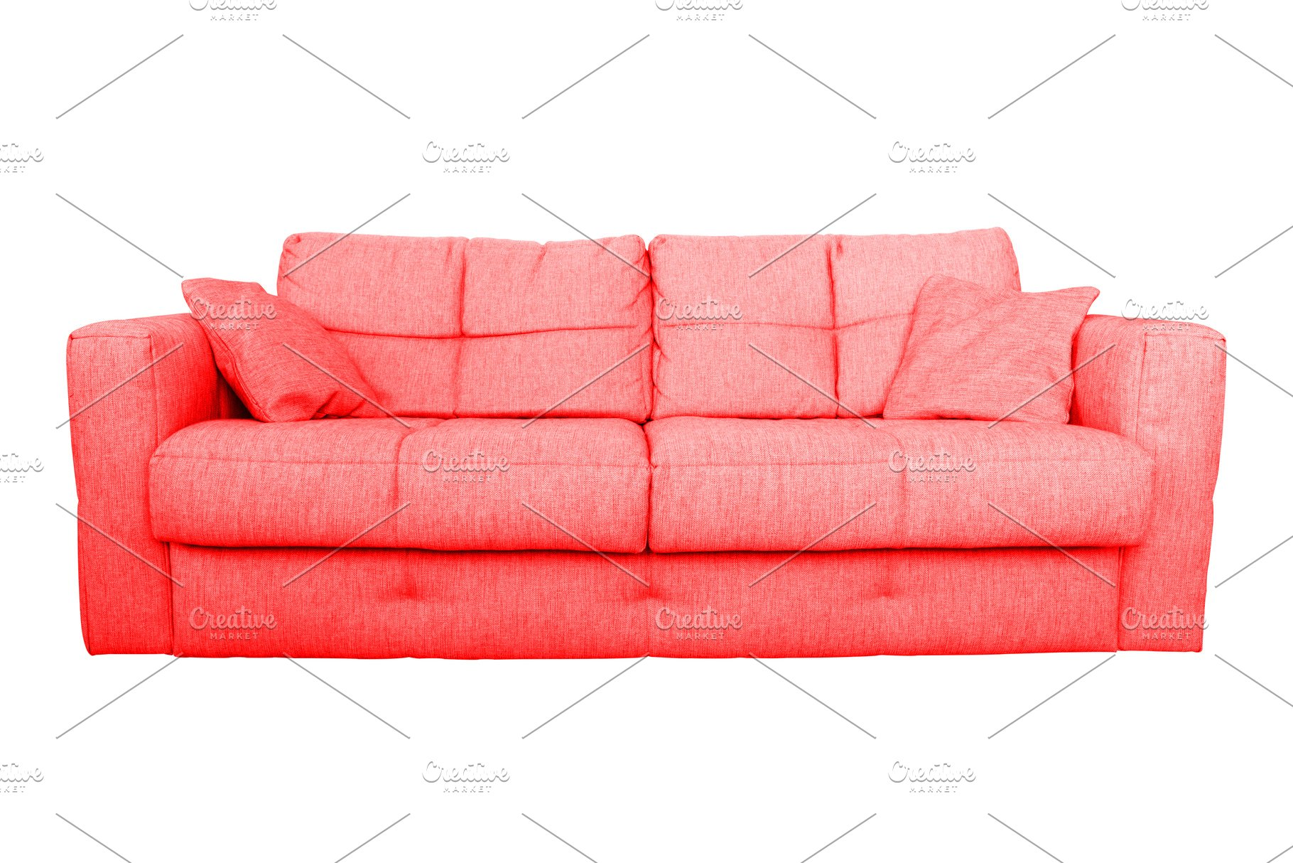 Modern red sofa or couch furniture