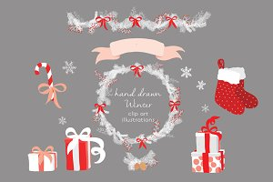 Hand drawn Winter clip art images