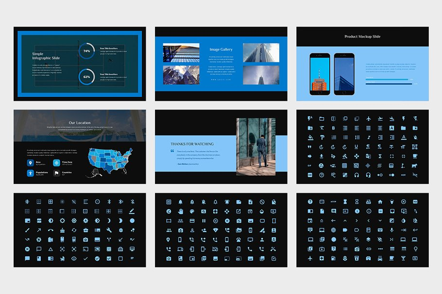Qezio: Blue Color Tone Google Slides