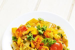 sauteed vegetables and eggplant