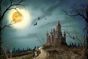 Night, moon and dark castle