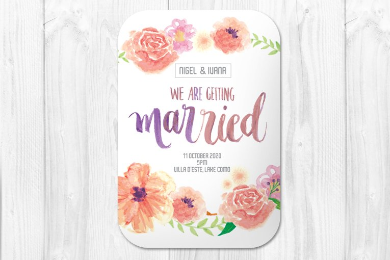 watercolor wedding invite template illustrations creative market