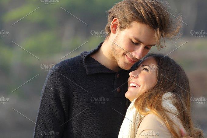 Happy couple hugging in love outdoors.jpg - People
