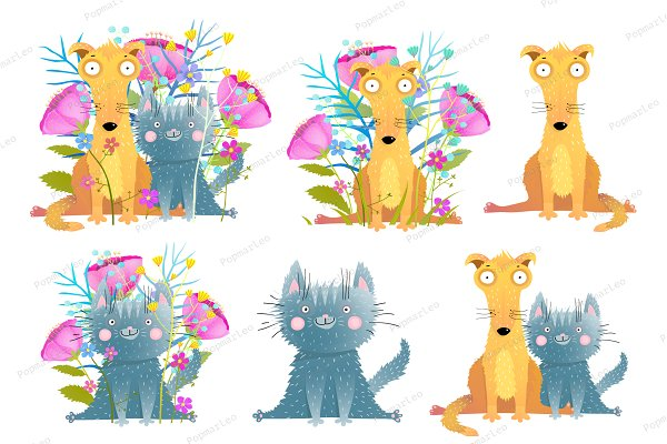 Cat and dog with flowers clip art