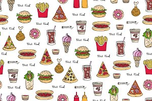 Hand drawn pattern with fast food