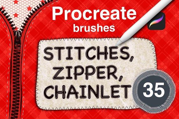 Sewing stitches set  Procreate brush