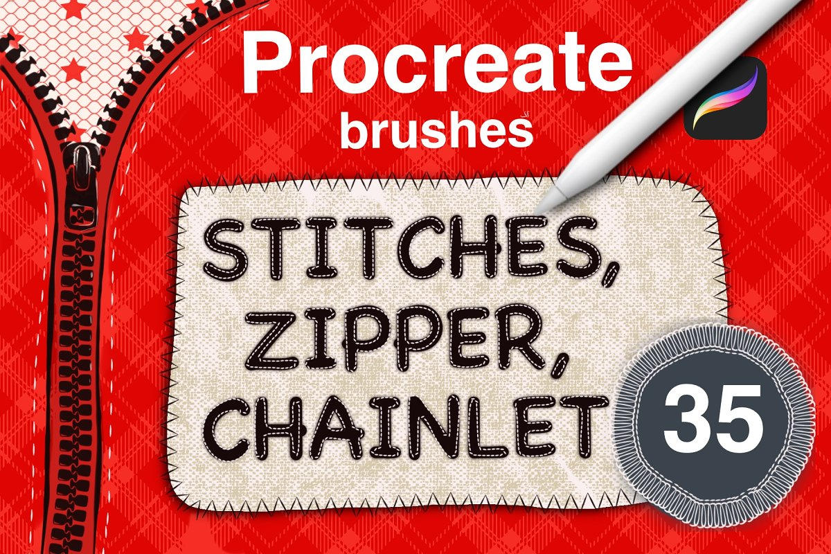 Sewing stitches set  Procreate brush ~ Procreate Brushes