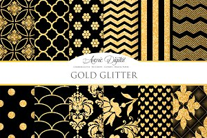 Black and Gold Glitter Digital Paper