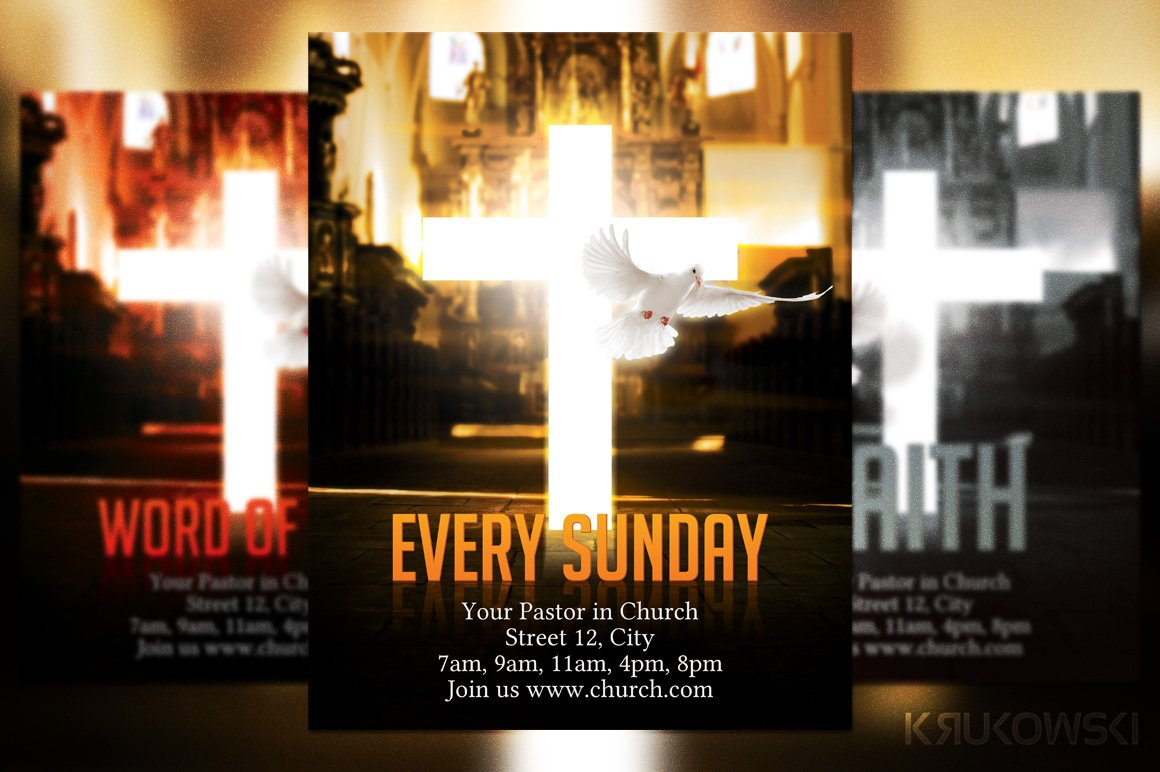 church flyer flyer templates creative market