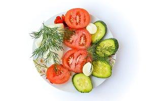 Fresh sliced tomatoes, cucumbers