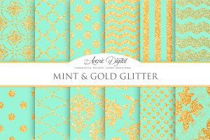 Mint and Gold Glitter Papers