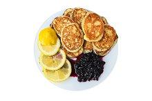 Pancakes with lemon and jam.