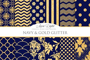 Navy and Gold Glitter Papers