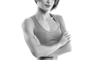 Fitness woman portrait isolated
