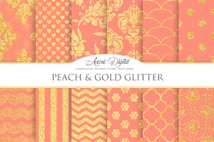 Peach and Gold Glitter Papers