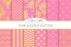 Pink and Gold Glitter Papers