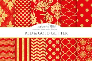 Red and Gold Glitter Papers