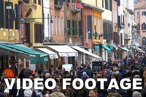 Busy Pedestrian Street in Venice