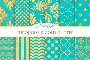 Turquoise and Gold Glitter Papers