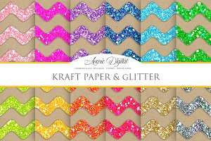 Kraft Paper and Glitter Chevron