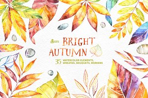 Bright Autumn. Watercolor collection