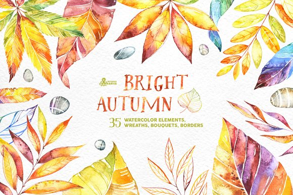 Bright Autumn. Watercolor collection - Illustrations