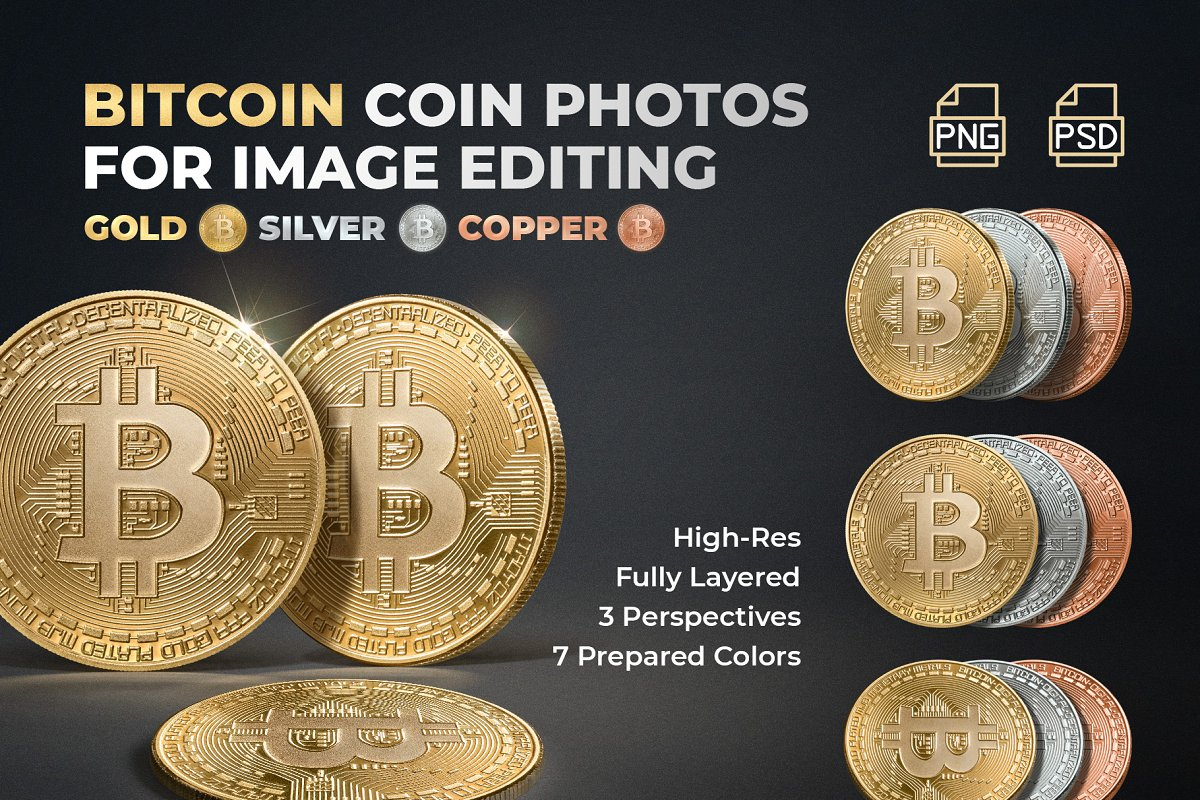 Bitcoin Coin Photos - BTC XBT Crypto ~ Graphic Objects ~ Creative Market