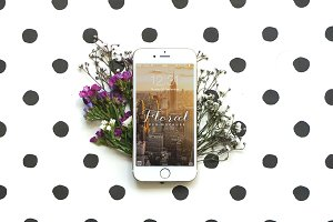 Quirky Dots & Floral iPhone 6 Mockup