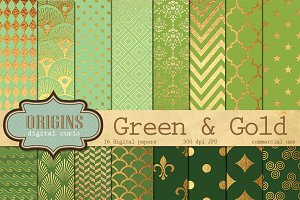 Green and Gold Leaf Digital Paper