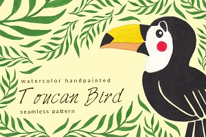 Toucan Watercolor Seamles Pattern