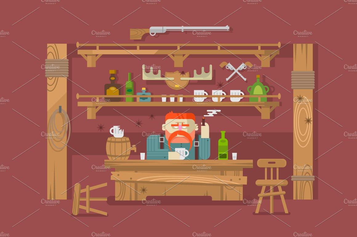 Interior of the bar illustrations creative market