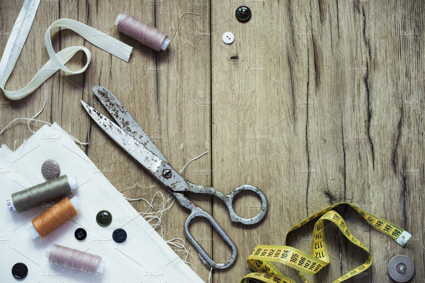 Sewing Kit Scissors Bobbins With Thread And Needles On