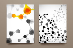 Set of brochures in molecule style