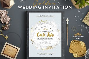 Golden Foil Wedding Invitation I