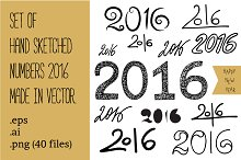Set of handdrawn numbers 2016.Vector