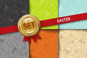 Set of doodle Easter backgrounds
