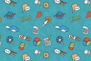 Seamless Doodle SEO Pattern