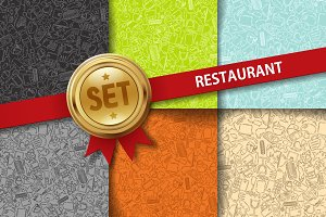 Set of doodle Restaurant backgrounds