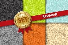 Set of doodle Ramadan backgrounds