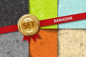 Set of doodle Ramadan backgrounds