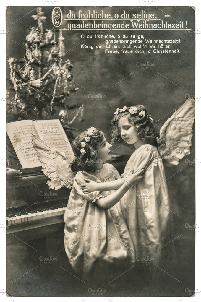 Christmas angels. Vintage postcard - Holidays