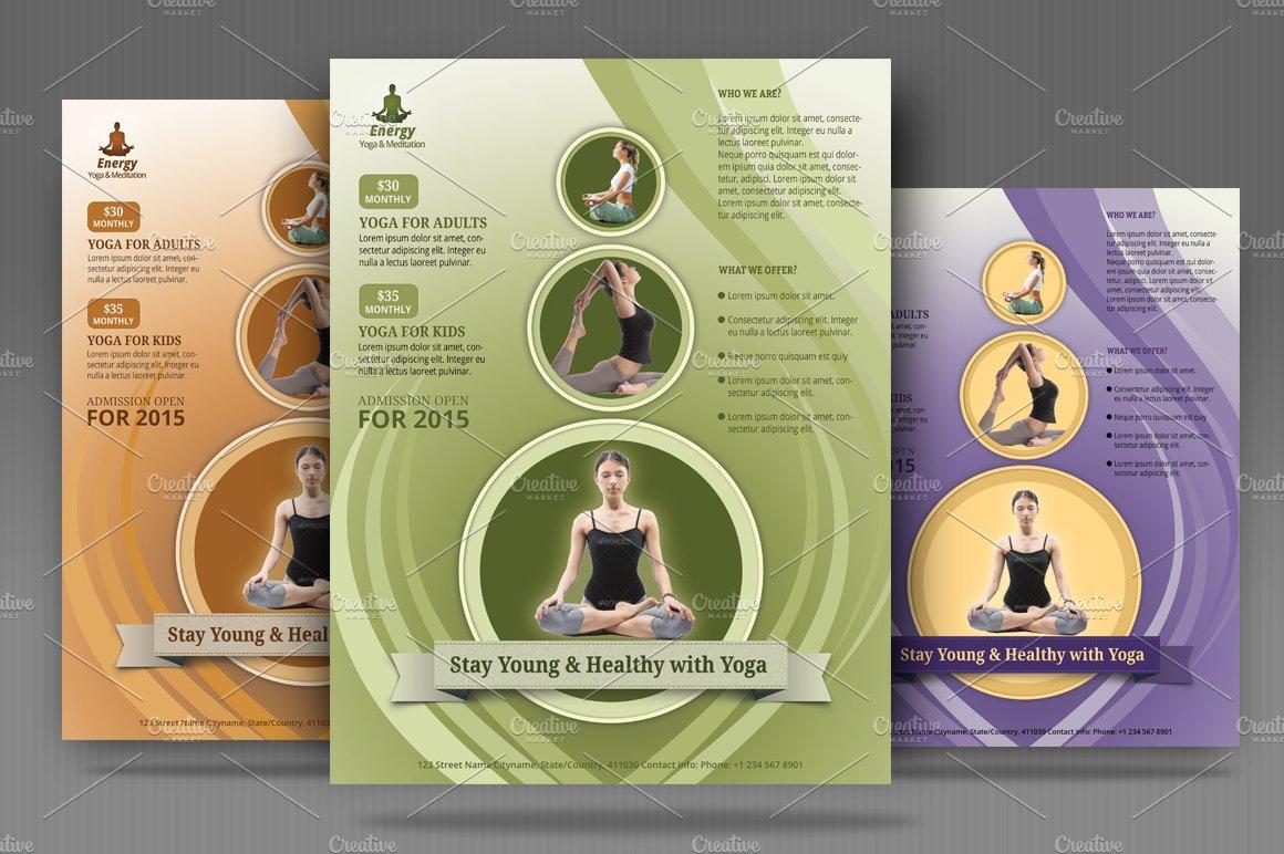 Yoga Meditation Simple Flyer Templates Creative Market