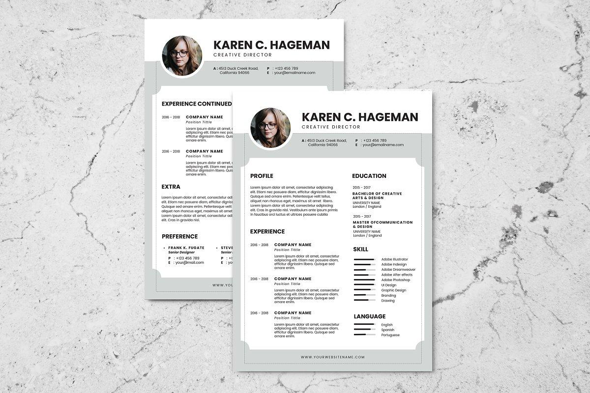 Minimalist CV Resume AI and PSD 2