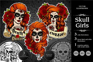 Skull girls. Vector set. Day of dead