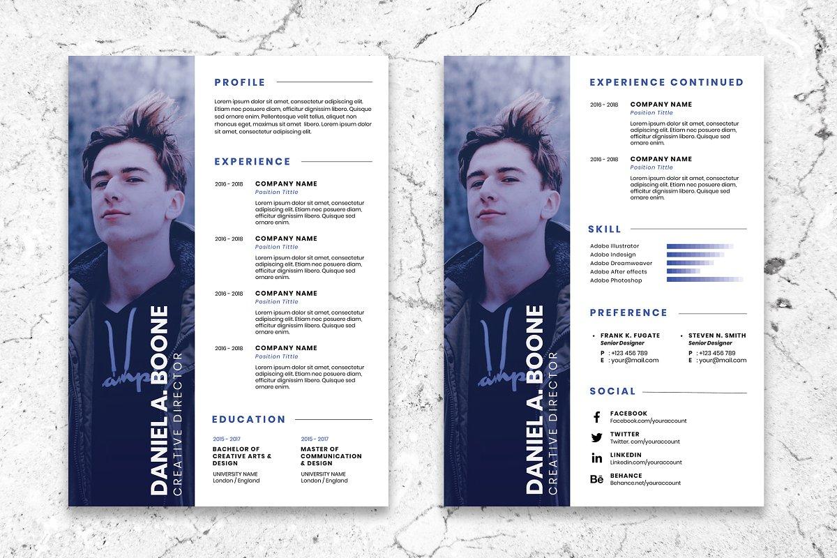 Minimalist CV Resume AI and PSD 4