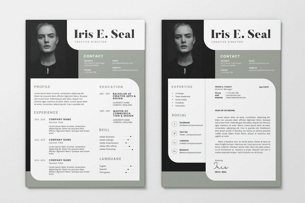 Minimalist CV Resume AI and PSD 6